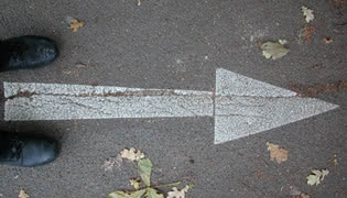 An arrow on a street